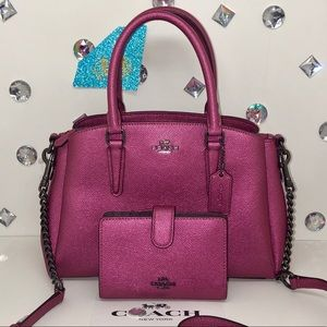 COACH 💎 MINI SAGE + WALLET METALLIC MAGENTA PINK